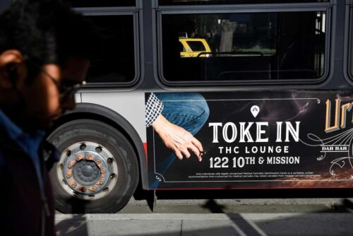 Toke In THC Lounge ad on bus