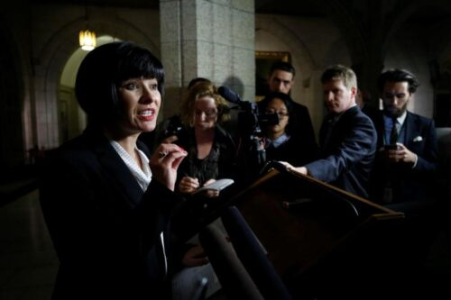 Canada's Health Minister Ginette Petitpas Taylor speaks during a news conference on Parliament Hill in Ottawa
